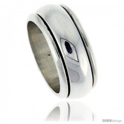 Sterling Silver Men's Spinner Ring Domed Band Handmade 3/8 in Wide