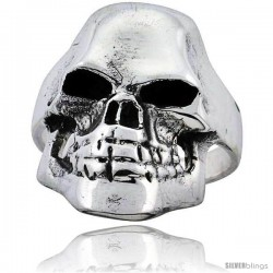 Sterling Silver Fractured Skull Ring 1 1/8 in wide