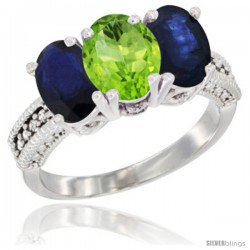 14K White Gold Natural Peridot & Blue Sapphire Sides Ring 3-Stone 7x5 mm Oval Diamond Accent