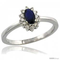 14k White Gold Diamond Halo Blue Sapphire Ring 0.25 ct Oval Stone 5x3 mm, 5/16 in wide