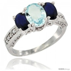14k White Gold Ladies Oval Natural Aquamarine 3-Stone Ring with Blue Sapphire Sides Diamond Accent