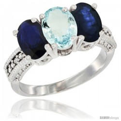 14K White Gold Natural Aquamarine & Blue Sapphire Sides Ring 3-Stone 7x5 mm Oval Diamond Accent