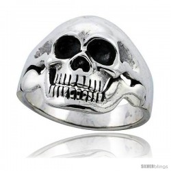 Sterling Silver Skull Ring 1 in wide -Style Tr777