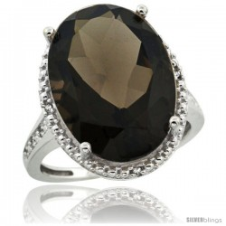 Sterling Silver Diamond Natural Smoky Topaz Ring 13.56 Carat Oval Shape 18x13 mm, 3/4 in (20mm) wide