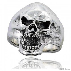 Sterling Silver Skull Ring 1 1/16 in wide