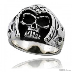 Sterling Silver Skull Ring with Armored Helmet 11/16 in wide