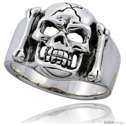 Sterling Silver Cracked Skull & Bones Ring 3/4 in wide