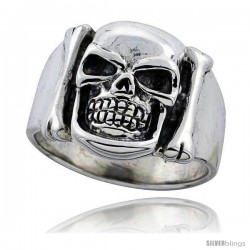Sterling Silver Skull & Bones Ring 3/4 in wide