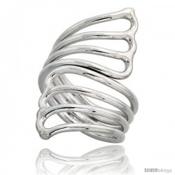 Sterling Silver Hand Made, Fan-shaped Wire Wrap Ring, 1 1/2 in (39 mm) wide
