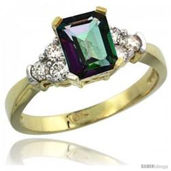 10k Yellow Gold Ladies Natural Mystic Topaz Ring Emerald-shape 7x5 Stone