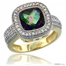 10K Yellow Gold Natural Mystic Topaz Ring Diamond Accent, Cushion-cut 9x9 Stone Diamond Accent