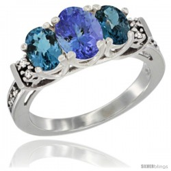 14K White Gold Natural Tanzanite & London Blue Ring 3-Stone Oval with Diamond Accent
