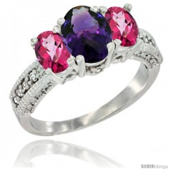 14k White Gold Ladies Oval Natural Amethyst 3-Stone Ring with Pink Topaz Sides Diamond Accent