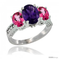14K White Gold Ladies 3-Stone Oval Natural Amethyst Ring with Pink Topaz Sides Diamond Accent