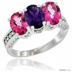 14K White Gold Natural Amethyst & Pink Topaz Sides Ring 3-Stone 7x5 mm Oval Diamond Accent