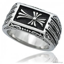 Surgical Steel Biker Ring Cross patonce 1 in long -Style Rss189