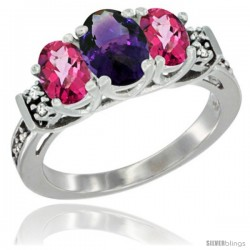 14K White Gold Natural Amethyst & Pink Topaz Ring 3-Stone Oval with Diamond Accent