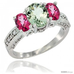 14k White Gold Ladies Oval Natural Green Amethyst 3-Stone Ring with Pink Topaz Sides Diamond Accent