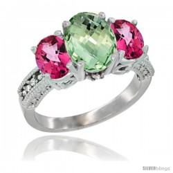 14K White Gold Ladies 3-Stone Oval Natural Green Amethyst Ring with Pink Topaz Sides Diamond Accent