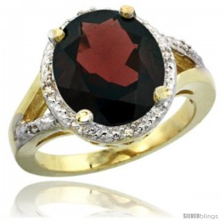 14k Yellow Gold Ladies Natural Garnet Ring oval 12x10 Stone Diamond Accent