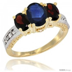 14k Yellow Gold Ladies Oval Natural Blue Sapphire 3-Stone Ring with Garnet Sides Diamond Accent