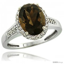 Sterling Silver Diamond Natural Smoky Topaz Ring 2.4 ct Oval Stone 10x8 mm, 1/2 in wide