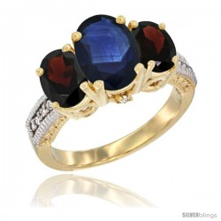 14K Yellow Gold Ladies 3-Stone Oval Natural Blue Sapphire Ring with Garnet Sides Diamond Accent