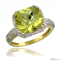 10k Yellow Gold Diamond Halo Lemon Quatrz Ring Checkerboard Cushion 11 mm 5.85 ct 1/2 in wide