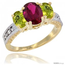 10K Yellow Gold Ladies Oval Natural Ruby 3-Stone Ring with Lemon Quartz Sides Diamond Accent