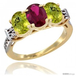10K Yellow Gold Natural Ruby & Lemon Quartz Sides Ring 3-Stone Oval 7x5 mm Diamond Accent
