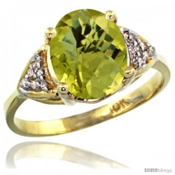 10k Yellow Gold Diamond Lemon Quatrz Ring 2.40 ct Oval 10x8 Stone 3/8 in wide