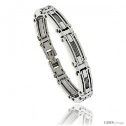Gent's Stainless Steel Cable & Bar Bracelet, 1/2 in wide