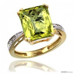 10k Yellow Gold Diamond Lemon Quartz Ring 5.83 ct Emerald Shape 12x10 Stone 1/2 in wide -Style Cy927149