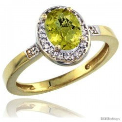 10k Yellow Gold Diamond Lemon Quartz Ring 1 ct 7x5 Stone 1/2 in wide