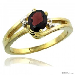 14k Yellow Gold Ladies Natural Garnet Ring oval 6x4 Stone Diamond Accent -Style Cy410165
