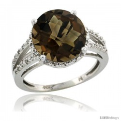 Sterling Silver Diamond Natural Smoky Topaz Ring 5.25 ct Round Shape 11 mm, 1/2 in wide