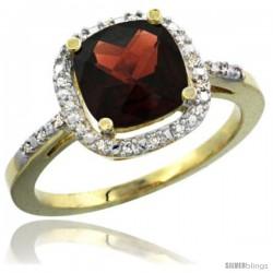 14k Yellow Gold Ladies Natural Garnet Ring Cushion-cut 3.8 ct. 8x8 Stone Diamond Accent