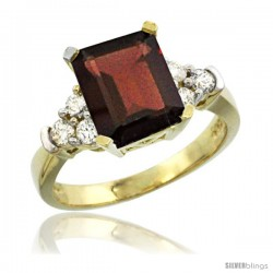 14k Yellow Gold Ladies Natural Garnet Ring Emerald-shape 9x7 Stone Diamond Accent