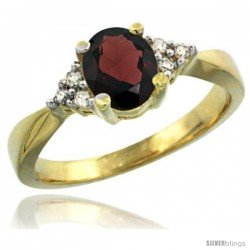 14k Yellow Gold Ladies Natural Garnet Ring oval 7x5 Stone Diamond Accent -Style Cy410168