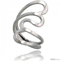 Sterling Silver Hand Made, Heart-shaped Wire Wrap Ring, 1 1/4 in (34 mm) wide