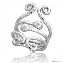 Sterling Silver Hand Made Freeform Wire Wrap Ring w/ 2 Beads, 1 1/4 in (31 mm) wide