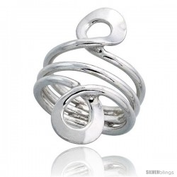Sterling Silver Hand Made, Freeform Wire Wrap Ring, 1 1/4 in (34 mm) wide