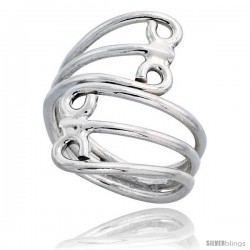 Sterling Silver Hand Made Freeform Wire Wrap Ring, 1 1/16 in (27 mm) wide