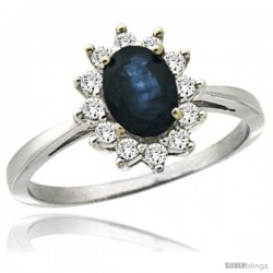 14k White Gold Diamond Halo Blue Sapphire Ring 0.85 ct Oval Stone 7x5 mm, 1/2 in wide