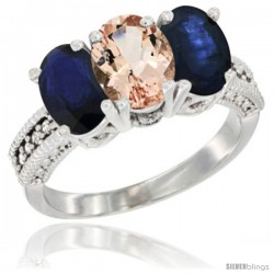 14K White Gold Natural Morganite & Blue Sapphire Sides Ring 3-Stone 7x5 mm Oval Diamond Accent
