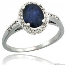 14k White Gold Diamond Blue Sapphire Ring Oval Stone 8x6 mm 1.17 ct 3/8 in wide