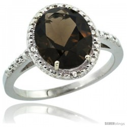 Sterling Silver Diamond Natural Smoky Topaz Ring 2.4 ct Oval Stone 10x8 mm, 1/2 in wide -Style Cwg07111