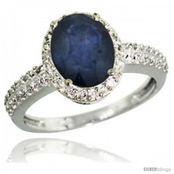 14k White Gold Diamond Blue Sapphire Ring Oval Stone 9x7 mm 1.76 ct 1/2 in wide