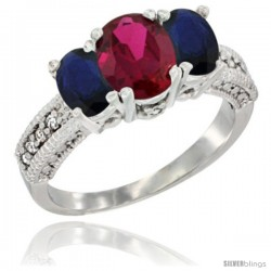 14k White Gold Ladies Oval Natural Ruby 3-Stone Ring with Blue Sapphire Sides Diamond Accent