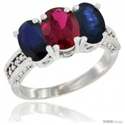 14K White Gold Natural Ruby & Blue Sapphire Sides Ring 3-Stone 7x5 mm Oval Diamond Accent